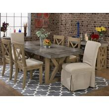 Boulder Ridge Dining Room Set: Concrete Table with 4 Side Chairs & 2 Slip Covered Chairs