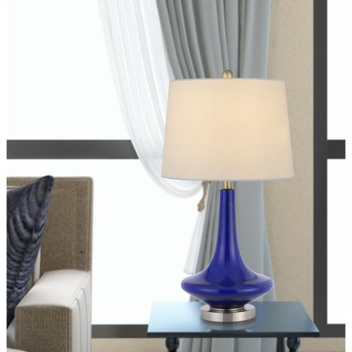100W Kleve Glass Table Lamp With Taper Drum Hardback Linen Shade (Priced And Sold As Pairs)