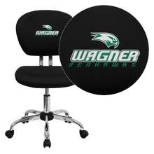 Wagner College Seahawks Embroidered Black Mesh Task Chair with Chrome Base