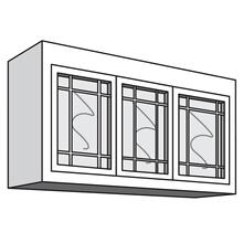 "See Details - Variable Bridge Top Unit, 3 Glass Doors with Open Center Mullions, 1 Adjustable Shelf, 12""d, 48""w "" 54""w"