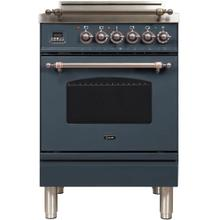 Nostalgie 24 Inch Gas Natural Gas Freestanding Range in Blue Grey with Bronze Trim