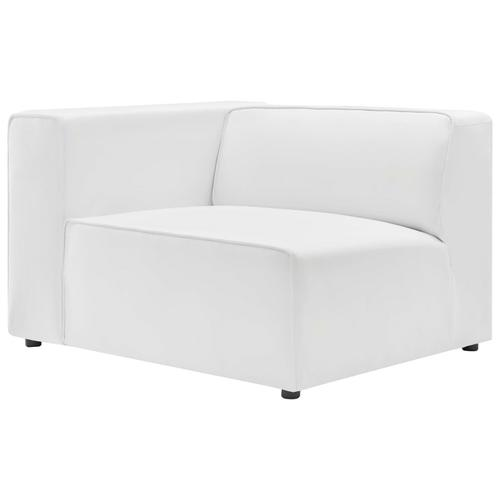 Mingle Vegan Leather Left-Arm Chair in White