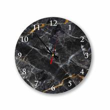 Black Marble Round Square Acrylic Wall Clock