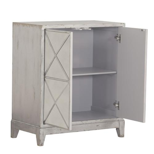 Two Door Mirrored Geometric Accent Chest in Distressed White