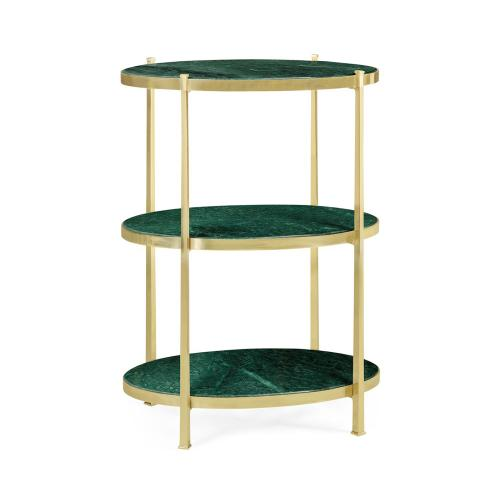Large Solid Brass & Green Napoly Marble Three-Tier End Table