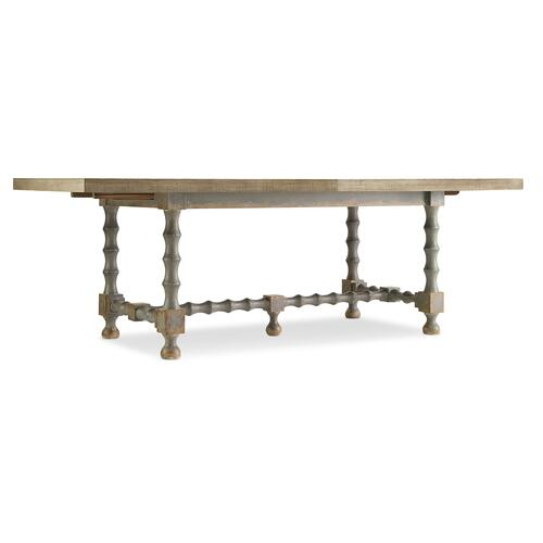 Ciao Bella 84in Trestle Table w/ 2-18in Leaves-Natural/Gray