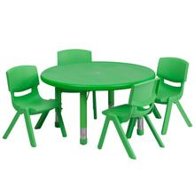 Product Image - 33'' Round Green Plastic Height Adjustable Activity Table Set with 4 Chairs