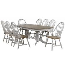 DLU-CG4296-30AGO9  9 Piece Double Pedestal Extendable Dining Table Set  2 Arm Chairs  Distressed Gray and Brown Wood