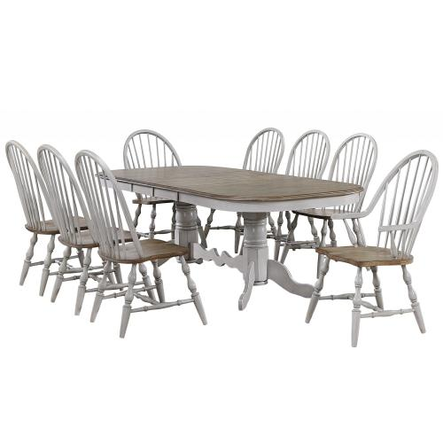 Double Pedestal Extendable Dining Table Set - Country Grove (9 Piece)