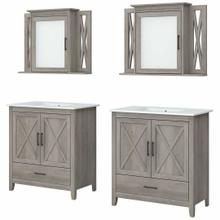 See Details - 64W Double Vanity Set with Sinks and Medicine Cabinets, Driftwood Gray
