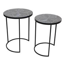 "S/2 Metal/wood 22/24"" Round Accent Tables, Black"