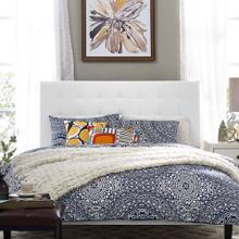 Paisley Tufted King and California King Upholstered Faux Leather Headboard in White