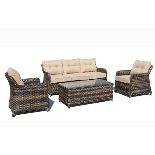 Alfresco Home - Merideth 4 pc Wicker Aluminum Sofa SetSunbrella Cushion Inclusive