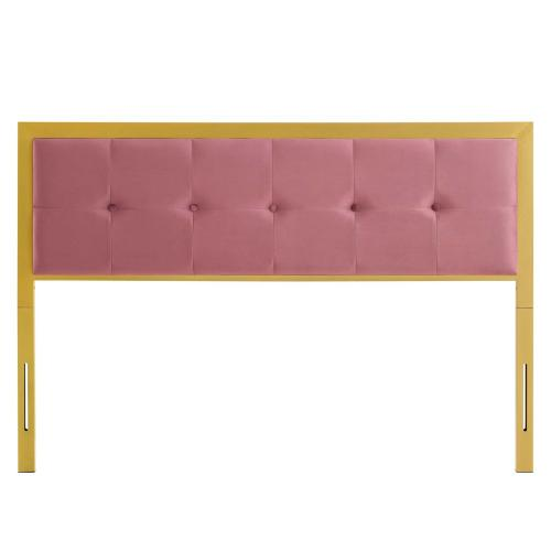 Teagan Tufted Twin Performance Velvet Headboard in Gold Dusty Rose