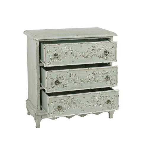 Hand Painted Three Drawer Accent Chest in Weathered Sage Green