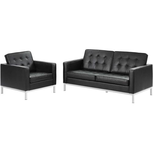Loft 2 Piece Leather Loveseat and Armchair Set in Black