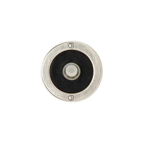 Round Designer Doorbell Button White Bronze Medium with White Leather
