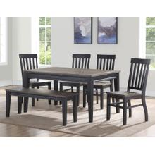 Raven Noir 6 Piece Dining Set(Table, Bench & 4 Side Chairs)