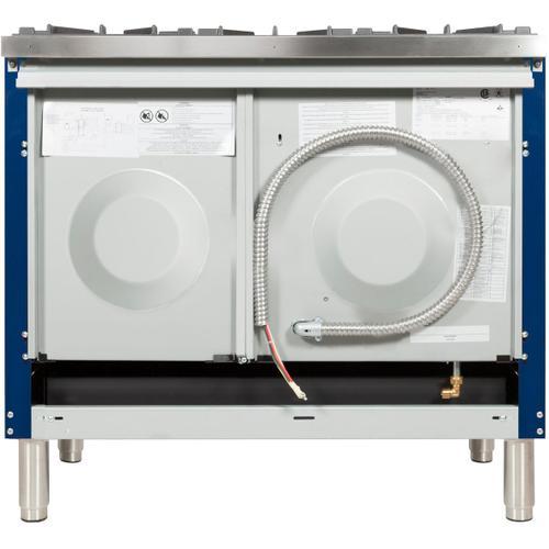 Nostalgie 40 Inch Dual Fuel Liquid Propane Freestanding Range in Blue with Chrome Trim