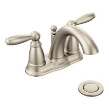 View Product - Brantford Brushed nickel two-handle high arc bathroom faucet