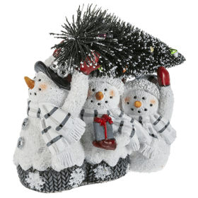 Triple Snowman with Christmas Tree Figurine