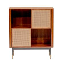 "Miriam 33"" Cabinet In Brown With Natural Wicker"