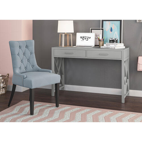 Glam Lattice 2 Drawer Wooden Desk in Gray