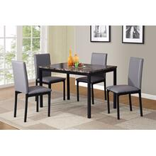Citico 5-Piece Metal Dinette Set with Laminated Faux Marble Top, Gray