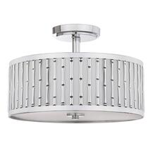 Pierce Bamboo 3 Light 15.25-INCH Dia Chrome Flush Mount - Chrome