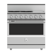 """See Details - 36"""" 4-Burner Dual Fuel Range with 12"""" Griddle - KRD Series - Steeletto"""