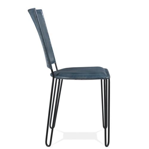 Mix-n-match Chairs - Blue Leather Side Chair - Obsidian Finish