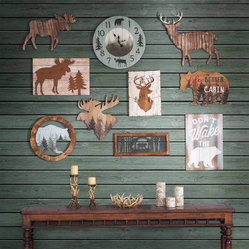 Foggy Forest Rustic Lodge Wall Clock