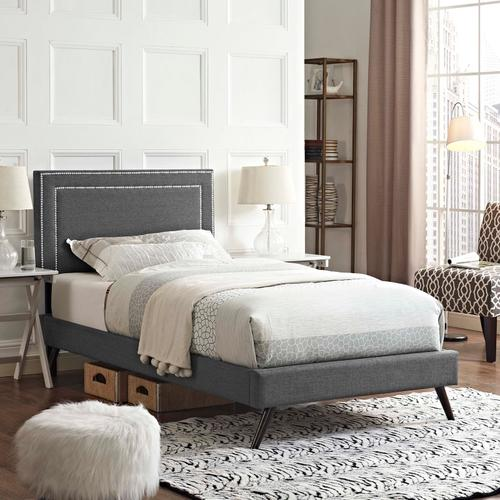Modway - Virginia Twin Fabric Platform Bed with Round Splayed Legs in Gray