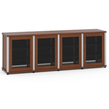 Synergy Solution 347, Quad-Width AV Cabinet, Cherry with Aluminum Posts
