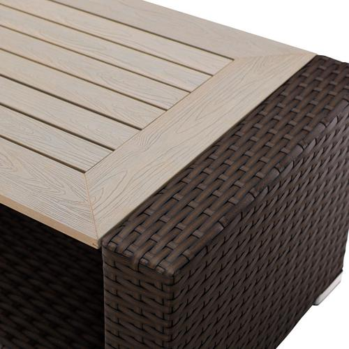 Woven Outdoor Entertaining Table In Rustic Brown / Beige