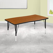 "28""W x 47.5""L Rectangular Wave Collaborative Oak Thermal Laminate Activity Table - Height Adjustable Short Legs"