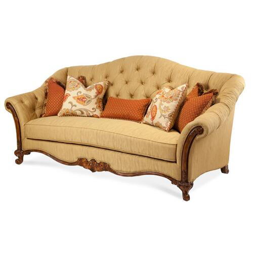 Wood Trim Tufted Sofa