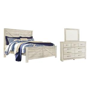 King Crossbuck Panel Bed With Mirrored Dresser