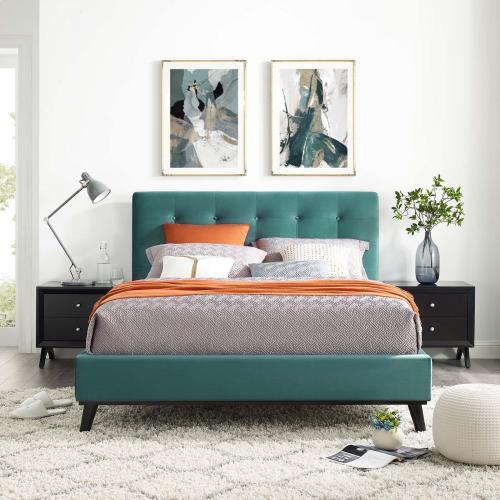 Modway - McKenzie Queen Biscuit Tufted Performance Velvet Platform Bed in Teal