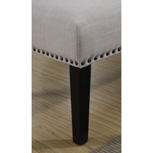 Nailhead Trim Bench in Neutral White