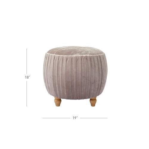 Helena KD Small Round Ottoman Natural Wood Legs, Chamoise