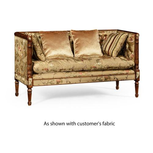 Regency style settee with brass detailing