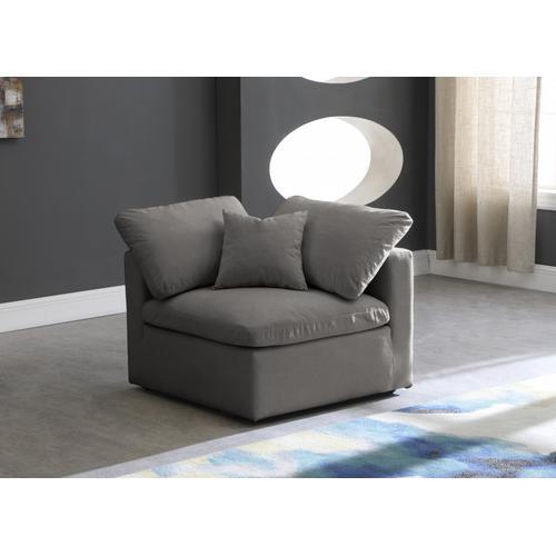 """Plush Velvet Standard Cloud Modular Down Filled Overstuffed Corner Chair - 35"""" W x 35"""" D x 32"""" H"""