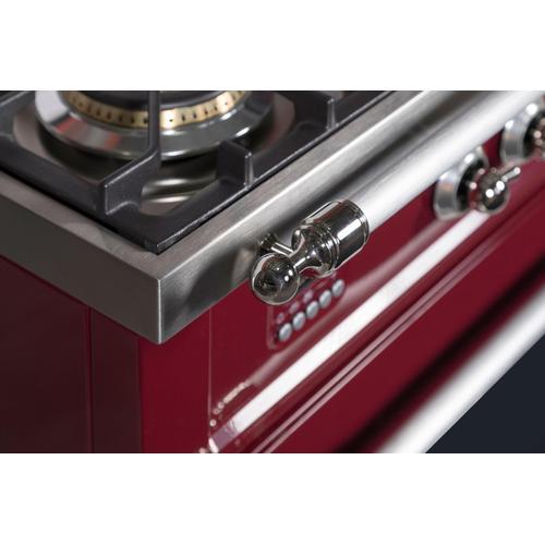 Nostalgie 30 Inch Gas Natural Gas Freestanding Range in Burgundy with Chrome Trim