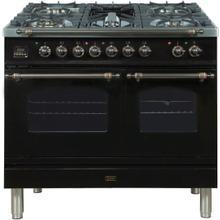 View Product - Nostalgie 40 Inch Dual Fuel Liquid Propane Freestanding Range in Glossy Black with Bronze Trim