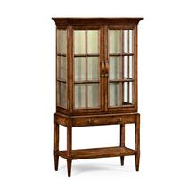Plank walnut glazed display cabinet with strap handles