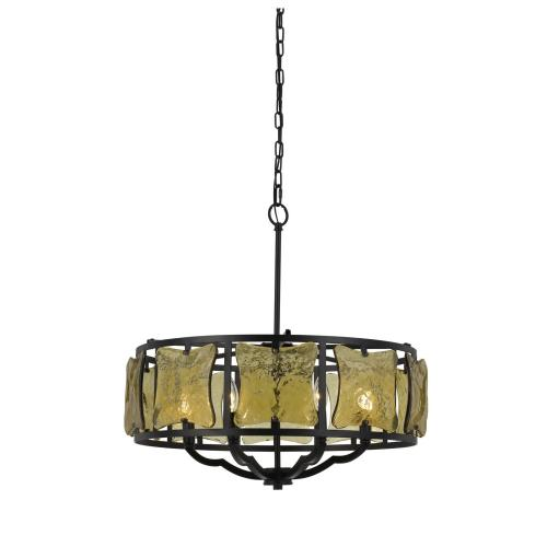 60W X 6 Revenna Forged Iron Chandelier With Hand Crafted Glass