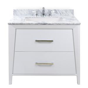 White CANTO 36-in Single-Basin Vanity with Carrara Stone Top Product Image