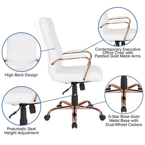 Gallery - High Back White LeatherSoft Executive Swivel Office Chair with Rose Gold Frame and Arms