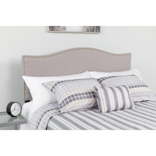 Flash Furniture - Lexington Upholstered Queen Size Headboard with Accent Nail Trim in Light Gray Fabric